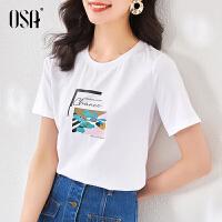 OSA白色印花t恤短袖女夏季修身上衣2021新款打底衫薄款时尚体恤潮