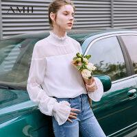 【到手价:122元】Amii极简仙气雪纺衫女2019夏季新款透视浪漫荷叶边立领灯笼袖上衣