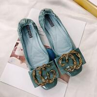 瓢鞋鞋子女2018新款秋豆豆鞋网红同款平底单鞋软底方头浅口平跟女 湖蓝色 偏小一码