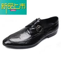 新品上市欧美新款纹男鞋真皮压花男士商务正装皮鞋英伦尖头鞋搭扣婚鞋