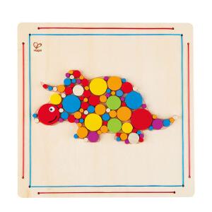 Hape三角恐龙木贴画3-6岁儿童创意玩具宝宝益智启蒙玩具E5137