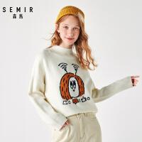 森马冬季新款毛衫女宽松套头半高领提花毛衣