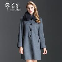 红莲 秋装新款女士欧美毛领修身中长款羊绒大衣