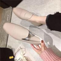 简约套脚平底鞋女一脚蹬单鞋2019春新款学生百搭英伦风小皮鞋女