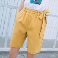 夏季新款松紧腰显瘦糖果色系带五分裤女潮直筒女士裤