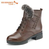 红蜻蜓新款真皮短靴女秋冬中跟加绒棉靴圆头粗跟女靴