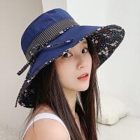 遮阳帽女防晒夏天出游百搭韩版春秋季可折叠太阳帽户外大沿渔夫帽