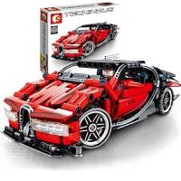 兼容乐高男孩拼装跑车玩具儿童拼插汽车组装回力赛车模型
