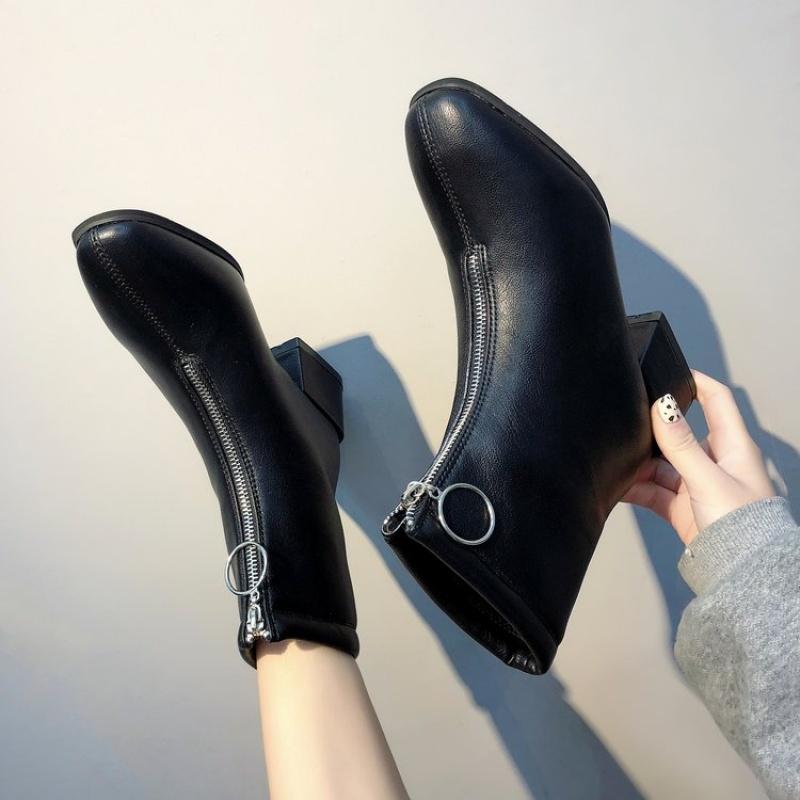 2019冬季新品时尚前拉链马丁靴女粗跟中跟绒面百搭短靴加棉靴子 黑色 皮面  冬季时尚新款女鞋男鞋