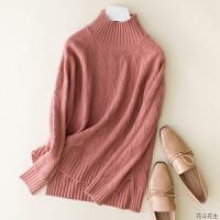 2018秋冬新款修身半高领加厚羊绒衫女菱形纯色毛衣套头针织打底衫