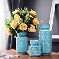 欧式装饰品摆件陶瓷插花干花瓶创意家居客厅桌面电视柜送结婚礼物 花瓶3件套 2束雪山玫瑰