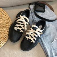2019新款新款真皮百搭黑色老爹鞋女潮厚底平跟鞋学生增高韩版女鞋