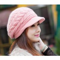 新款时尚百搭女士韩版兔毛针织毛线针织贝雷帽潮
