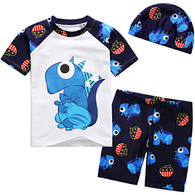 儿童泳衣男童分体短袖卡通游泳衣 宝宝平角泳装温泉套装
