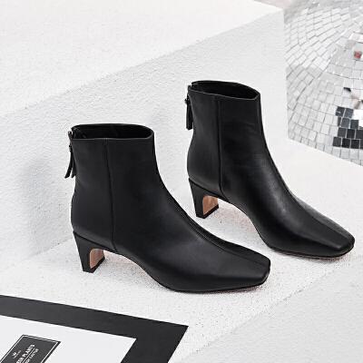 2019新款韩版方头瘦瘦靴后拉链粗跟中跟真皮时装靴短靴女马丁靴子
