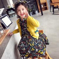 儿童套装 女童碎花裙两件套2020秋冬新款韩版田园风连衣裙女童中小童单排扣套装裙子