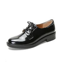 英伦风女鞋秋复古厚底单鞋布洛克加绒系带圆头学院原宿牛津小皮鞋 黑色