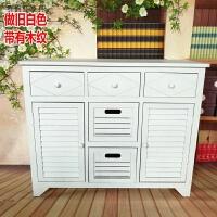 实木客厅收纳柜 整装组合储物柜北欧门厅柜五斗橱2门 斗柜 百叶 做旧白双门 整装