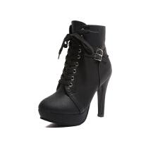 高跟短靴女靴子2019新款小跟细跟短靴高跟鞋尖头冬天鞋子批发