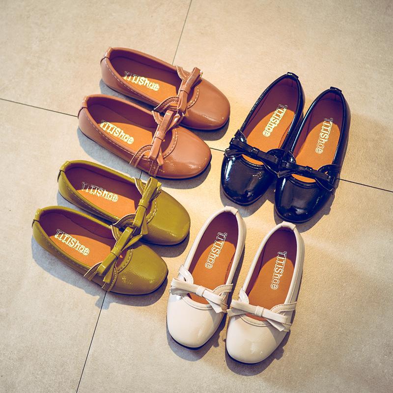 百搭软底女童皮鞋公主单鞋宝宝豆豆鞋儿童鞋子