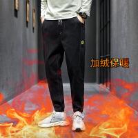 薄款牛仔裤男哈伦休闲潮牌直筒宽松韩版潮流束脚九分工装裤