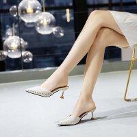 半包拖鞋女铆钉高跟鞋女中跟5cm外穿时尚细跟韩版尖头夏季凉拖鞋