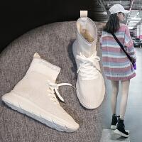 老爹弹力袜子鞋女秋新款2018百搭韩版高帮运动鞋透气平底嘻哈女鞋