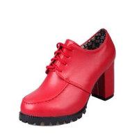 单鞋秋冬女鞋粗跟高跟鞋红色加绒圆头欧美7-8cm系鞋带潮中跟皮鞋