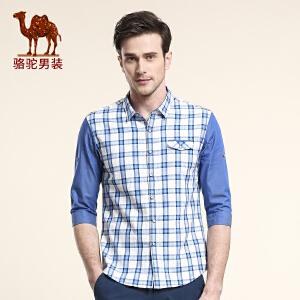 骆驼男装 春季新款纯棉五分袖衬衫 日常休闲修身柔软衬衣男