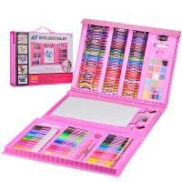 儿童画画套装绘画工具礼盒小学生水彩笔学习用品文具蜡笔生日礼物 208件粉色带画架画笔套装 A0598