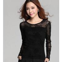 新款加绒加厚长袖t恤潮个性时尚休闲韩版修身圆领网纱打底衫大码女装