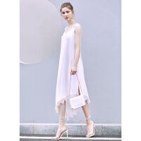 【券后预估价:120元】Amii极简性感蕾丝拼接仙女吊带连衣裙女夏新款V领不规则裙子