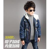 加绒加厚夹棉外套保暖新款   男童童装风衣牛仔上衣