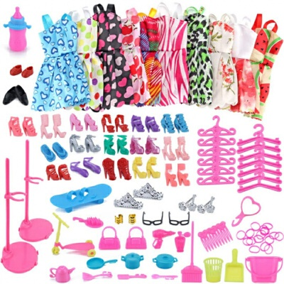 芭比娃娃的衣服和鞋子高跟鞋公主芭比娃娃的衣柜换装配饰饰品鞋子 10件短裙配件包 29厘米-30厘米 多买优惠