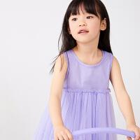【秒杀价:129元】马拉丁童装女童连衣裙2020夏装新款褶皱拼接两件套背心网纱裙