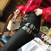 2018秋冬季新款黑色长裤子女士韩版高腰显瘦百搭紧身小脚休闲外穿 闪闪黑 X