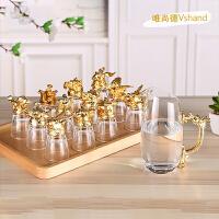 唯尚德水晶玻璃杯套装 十二生肖酒杯分酒器套装 白酒杯烈酒杯25ml*12只 酒具礼盒 金色十二生肖酒杯