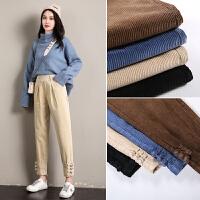 灯芯绒裤子女秋冬新款直筒条绒裤加绒加厚宽松哈伦奶奶萝卜裤
