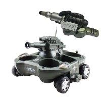 遥控坦克船水陆两栖坦克汽车玩具车四驱充电可发射水遥控车漂移车 【款+喷水炮台】 两栖变形双功能