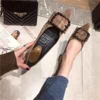 单鞋女2019新款时尚尖头浅口软底低跟单鞋方扣简约百搭通勤单鞋