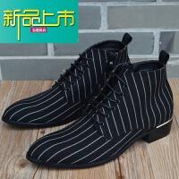 新品上市男鞋休闲马丁靴韩版英伦尖头高帮皮鞋男士短靴内增高布面时尚靴子