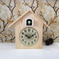 客厅布谷鸟挂钟实木静音现代简约创意摆钟儿童咕咕钟智能报时座钟 18英寸