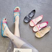 夏季果冻鞋女塑料凉鞋平底软胶防滑雨鞋鱼嘴海边沙滩鞋洞洞水晶鞋