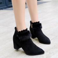 韩版秋天冬季鞋子女2018新款尖头短靴女粗跟加绒短筒毛毛高跟鞋潮