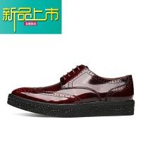 新品上市男鞋雕花皮鞋男漆皮商务正装皮鞋英伦尖头真皮春季男士鞋子