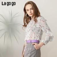 【清仓5折价161】Lagogo/拉谷谷2019春季新款飘带印花洋气女长袖雪纺衫IASS50ZG02