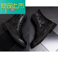 新品上市马丁靴男青年高帮真皮短靴秋冬时尚中筒厚底皮靴高筒男靴