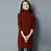秋冬季中长款高领毛衣女套头2018新款韩版加绒加厚保暖针织打底衫