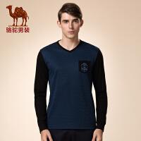 骆驼男装 新品冬款青年V领拼料打底衫 网图日常休闲长袖T恤男