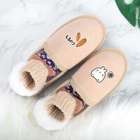 手绘雪地靴女短靴韩版百搭学生冬季保暖加绒一脚蹬平底棉鞋面包